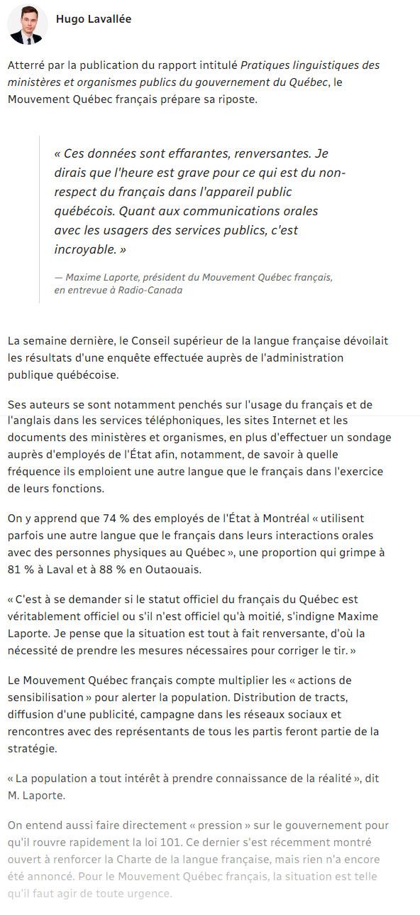 Le Mouvement Quebec Francais S Insurge Contre L Anglais Dans